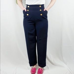 Chanel Buttoned Navy Sailor High Waisted Pants 🌿